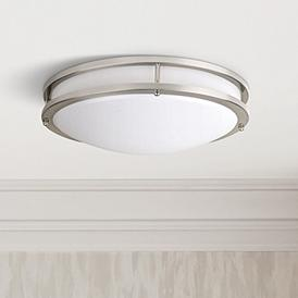 Effie 12 Wide Nickel Round Led Ceiling Light