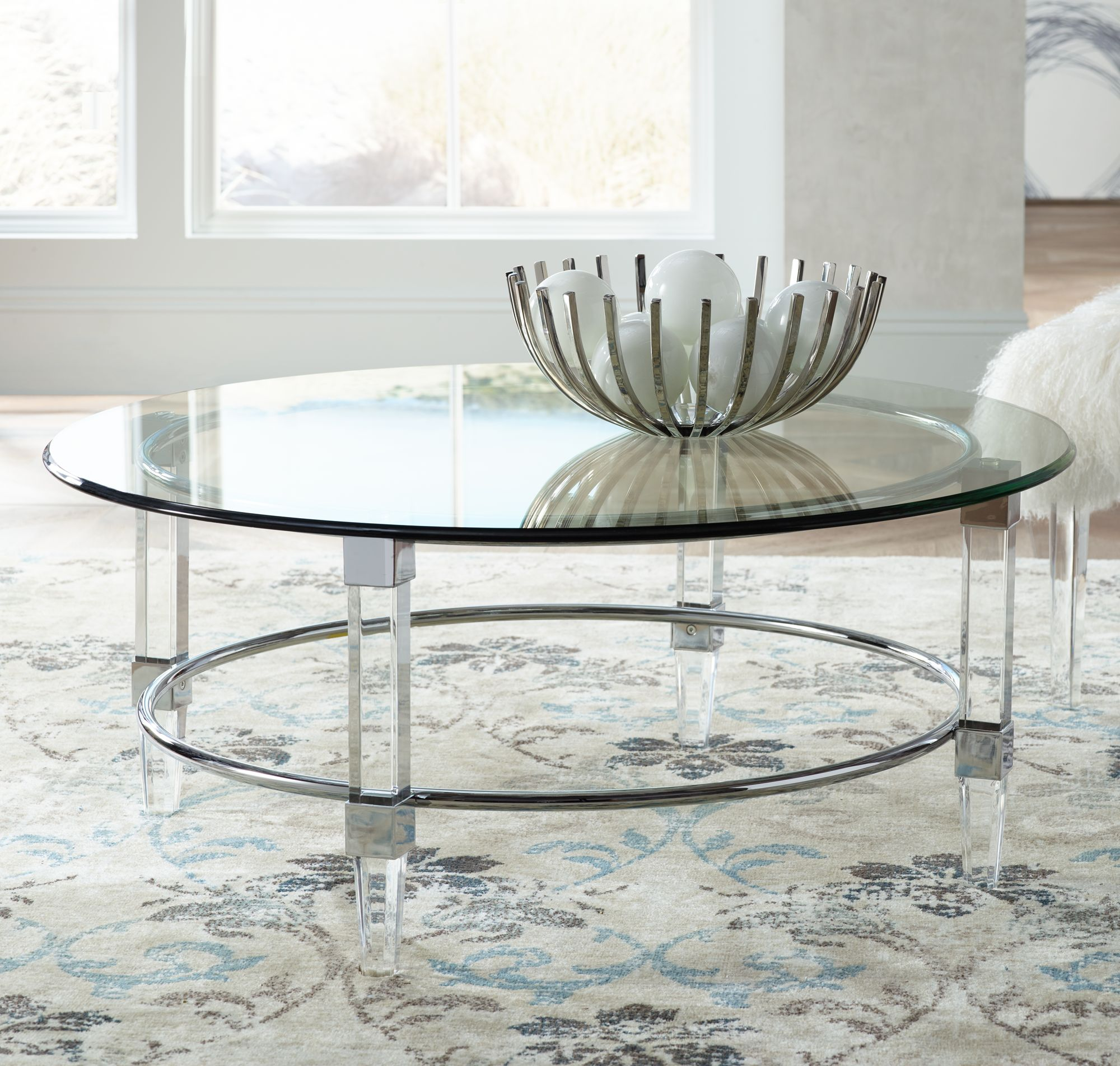Cristal Glass Top Round Chrome Cocktail Table