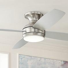 Casa vieja hugger flush mount ceiling fans lamps plus 52 52 casa elite brushed nickel led hugger ceiling fan aloadofball