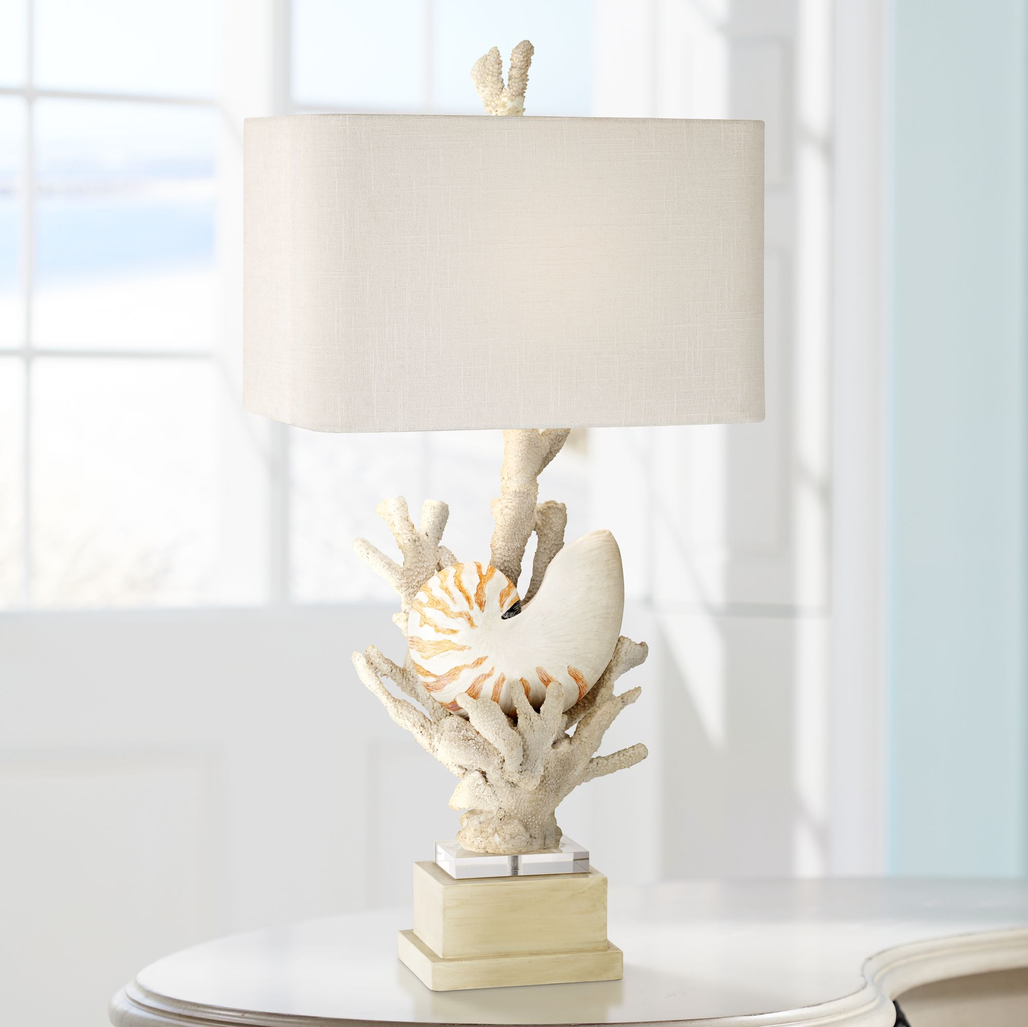 Attrayant Nautilus Shell And White Coral Table Lamp By Kathy Ireland