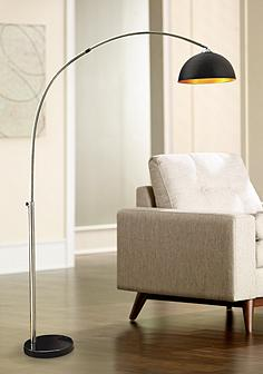 Black contemporary arc lamps floor lamps lamps plus murrillo matte black sand chrome arc floor lamp aloadofball Image collections