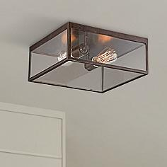Outdoor flush mount lighting fixtures for patio or porch lamps montesidro 12w bronze square glass outdoor ceiling light aloadofball Images