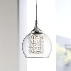 Possini Euro Encircled Crystal 6 Wide Halogen Mini Pendant