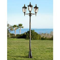 Outdoor post lights lamp post light fixtures lamps plus bellagio 96 high bronze outdoor 3 light street lantern aloadofball Gallery
