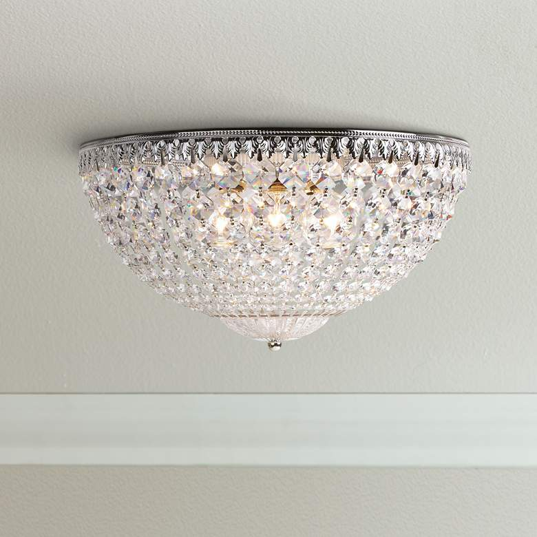 "Schonbek Silver 14"" Wide Swarovski Crystal Ceiling Light"
