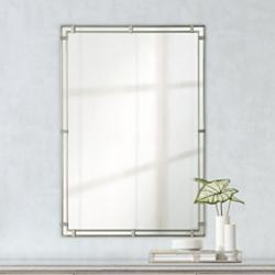 "Feiss Parker Place Brushed Steel 22"" x 33"" Wall Mirror"