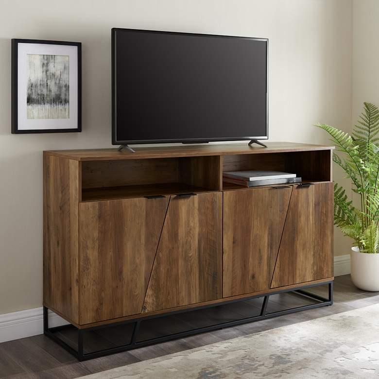 "Norton 58"" Wide Reclaimed Barnwood 4-Angled Door Sideboard"