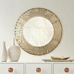 "Alita Champagne Woven Metal 32"" Round Wall Mirror"