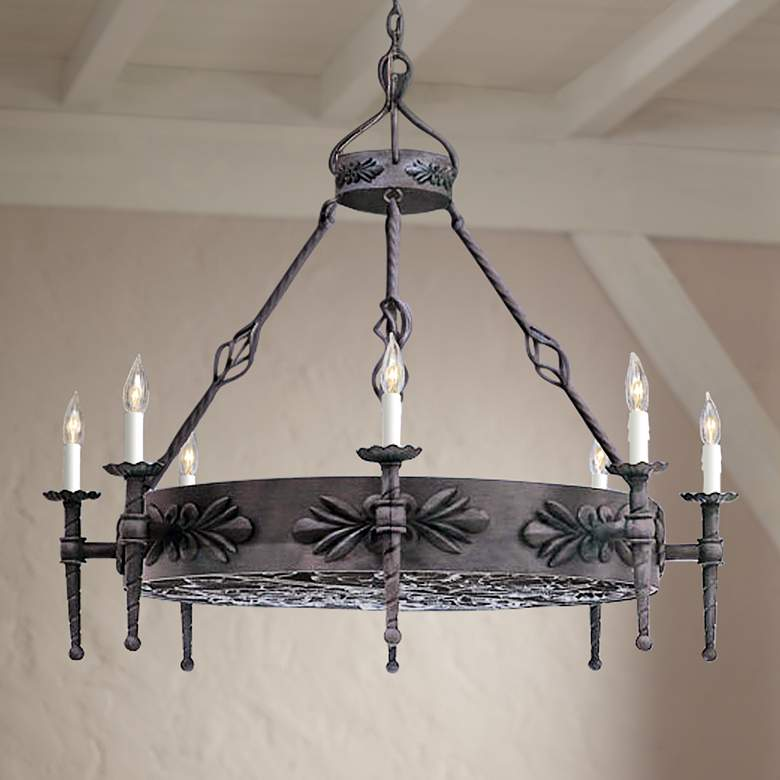 Alhambra Collection Round Large Wrought Iron Chandelier