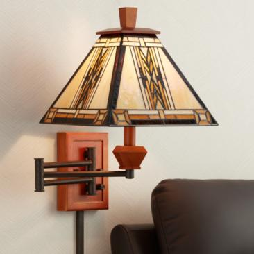 Walnut Mission Collection Plug-In Swing Arm Wall Lamp
