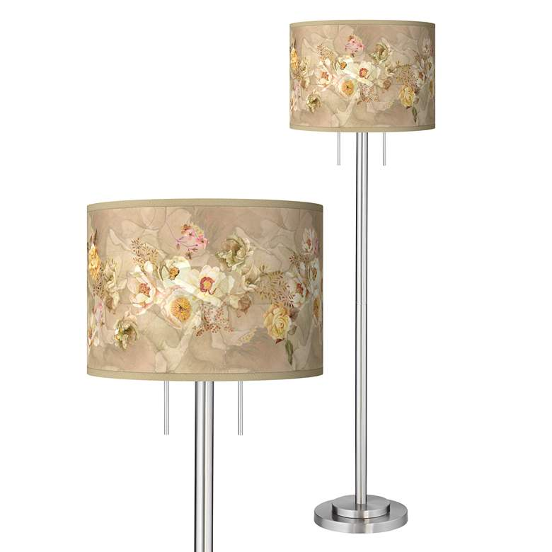 Floral Spray Giclee Brushed Nickel Garth Floor Lamp