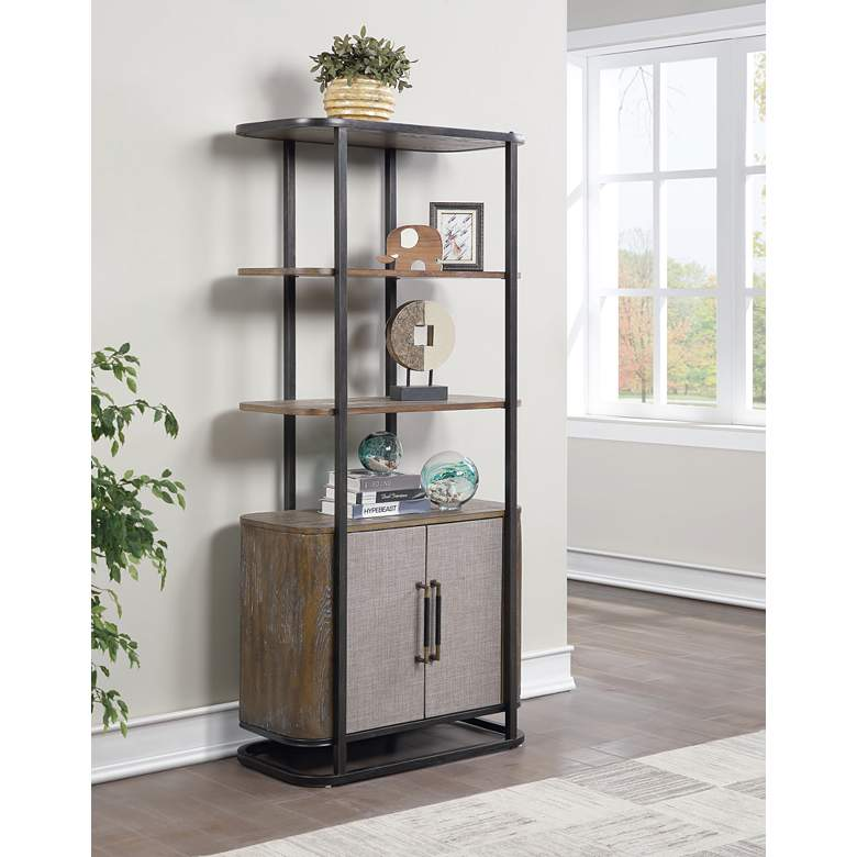 "Bradenton 32"" Wide Brown 2-Door 3-Shelf Wood Bookcase"
