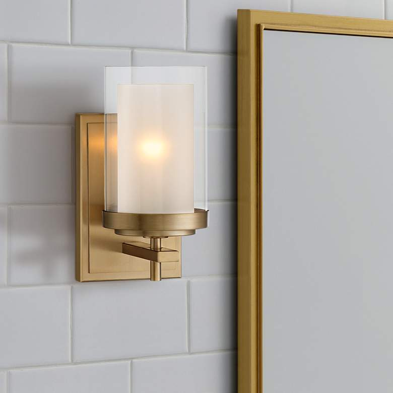 "Stiffel Sannah 10"" High Warm Brass Wall Sconce"