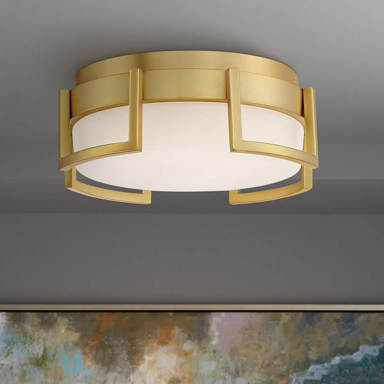 "George Kovacs Bezel Set 10"" Wide Honey Gold LED Ceiling Light"