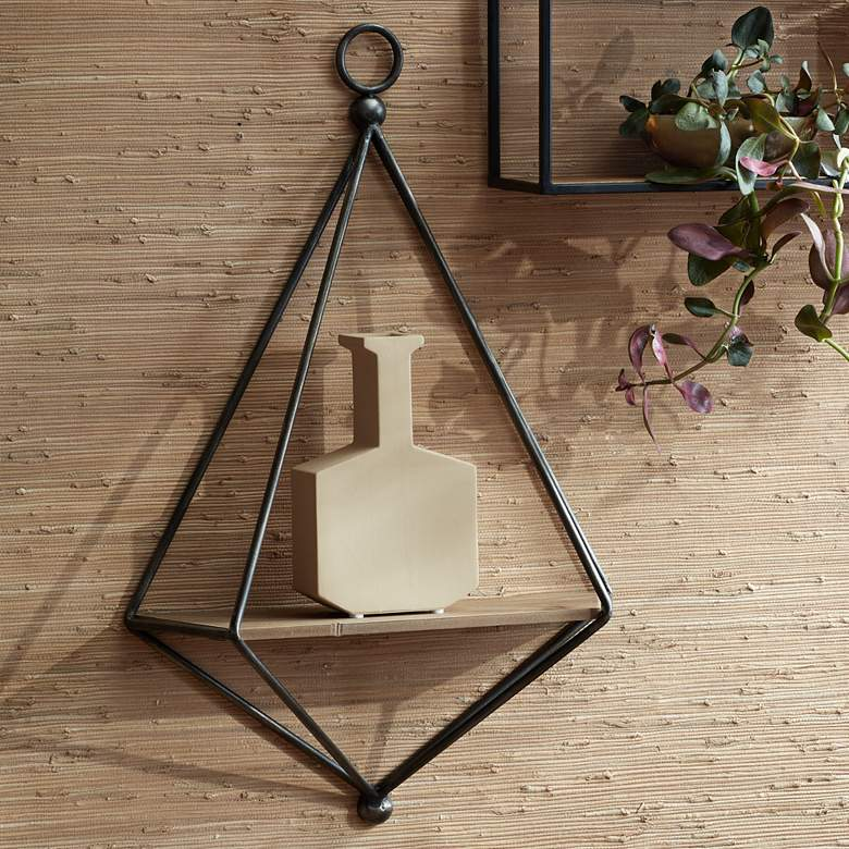 Topeka Matte Gray and Brown Triangular Wall Shelf