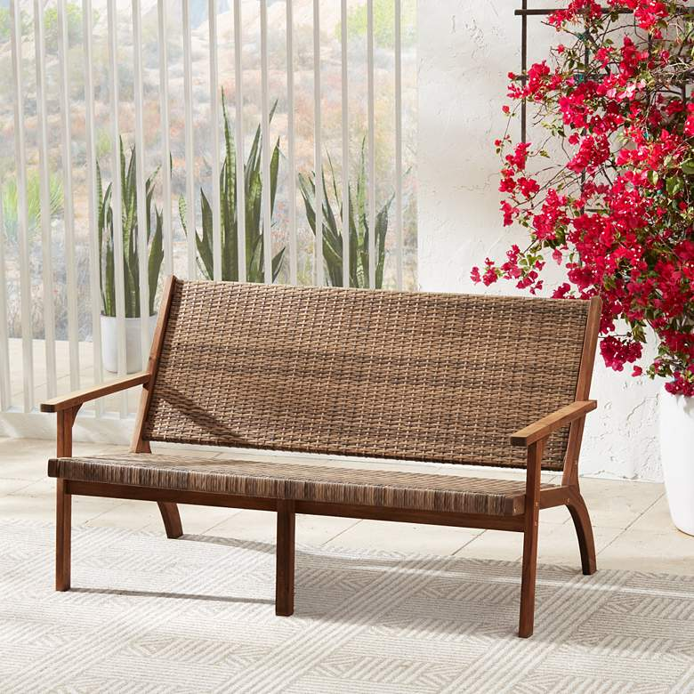 "Perry 55 1/4"" Wide Natural Wood Outdoor Sofa"