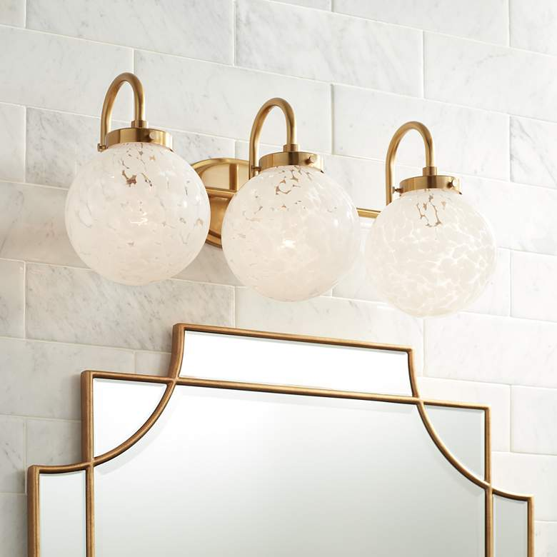 "Possini Euro Candida 24"" Wide Warm Gold and Glass 3-Light Bath Light"