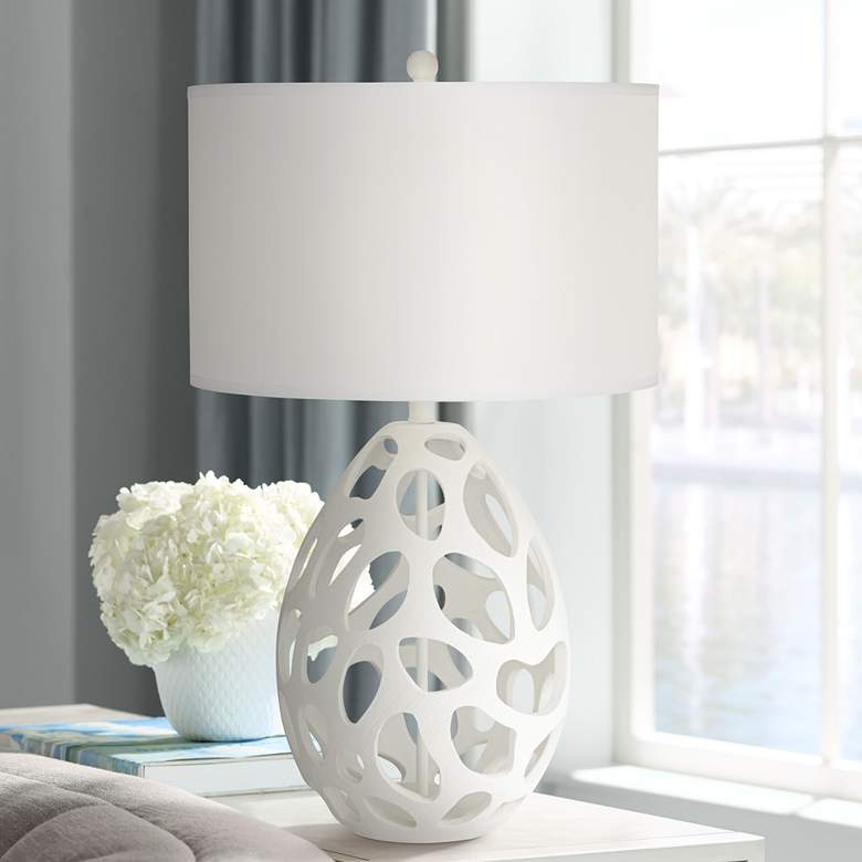 Luna Modern Table Lamp in White