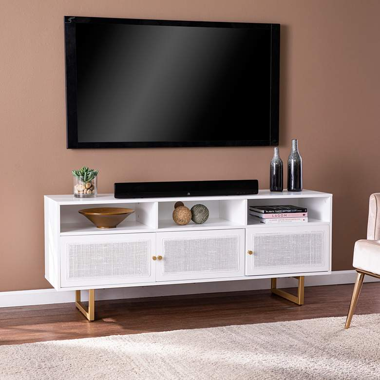 "Mursley 60"" Wide White Wood 3-Door Media Cabinet"