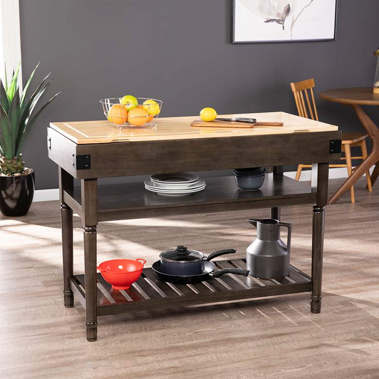 "Waysmere 47 3/4"" Wide Gray 2-Shelf Stationary Kitchen Island"