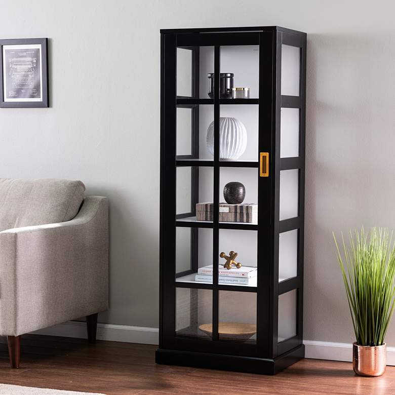 "Burland 23 1/4"" Wide Black Wood 5-Shelf Curio Cabinet"