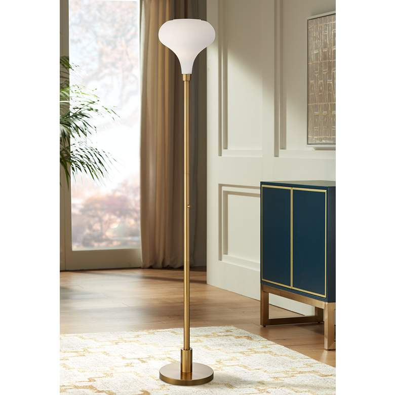Possini Euro Cecil Warm Brass and Opal Glass Torchiere Floor Lamp