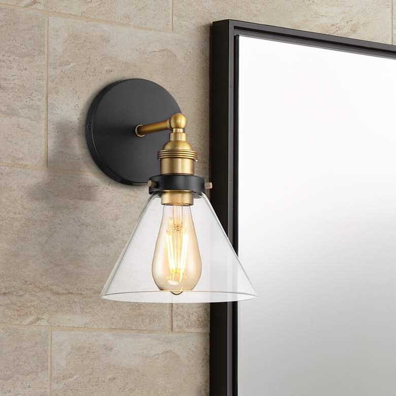 "Burke 10 3/4"" High Black and Brass LED Wall Sconce"