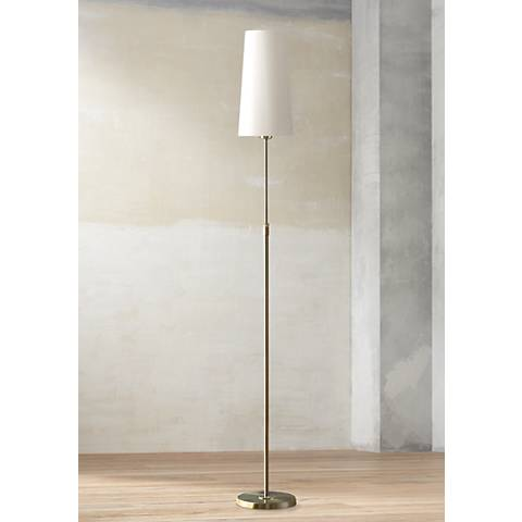 Holtkoetter Satin Nickel Narrow White Shade Floor Lamp