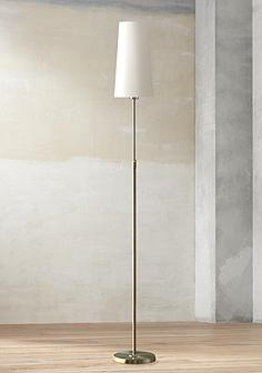 Holtkoetter floor lamps lamps plus holtkoetter satin nickel narrow white shade floor lamp aloadofball Images