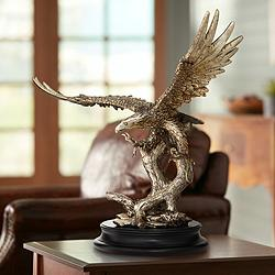 "Eagle Taking Flight 24 1/2"" High Large Golden Sculpture"