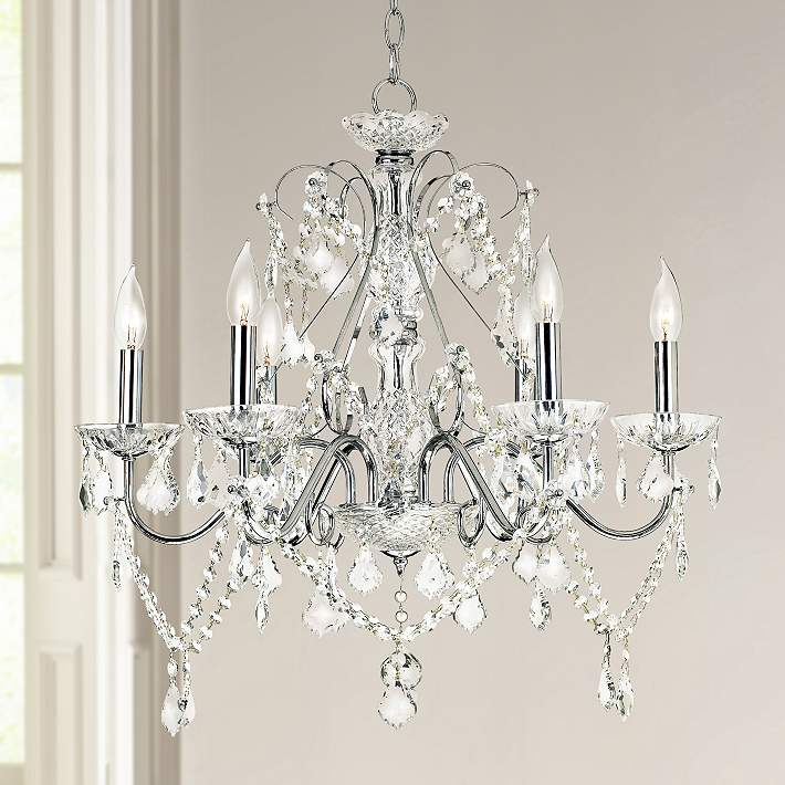 "Grace 23 1/2"" Wide Chrome and Crystal 6-Light Chandelier - #92905 