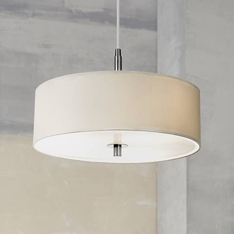 "Possini Euro White Brushed Nickel 16""W Contemporary Pendant"
