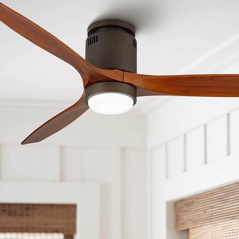 "52"" Windspun Walnut - Oil Rubbed Bronze LED DC Hugger Ceiling Fan"