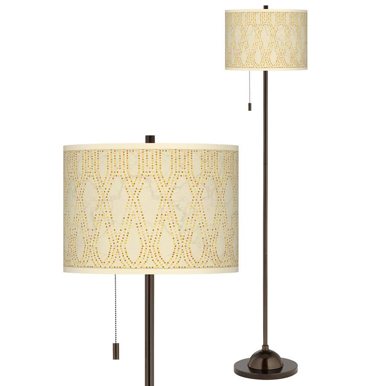Roman Pebbles Giclee Glow Bronze Club Floor Lamp
