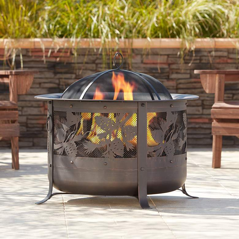 "Encino 30"" Wide Round Bronze Wood Burning Fire Pit"