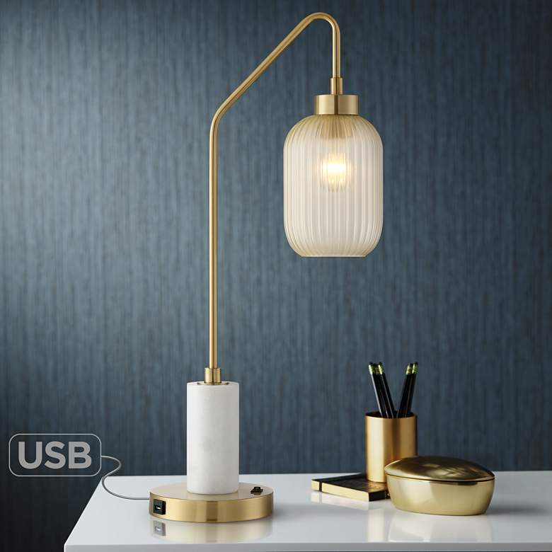 Vaile Modern Marble and Glass USB Desk Lamp by Possini Euro Design