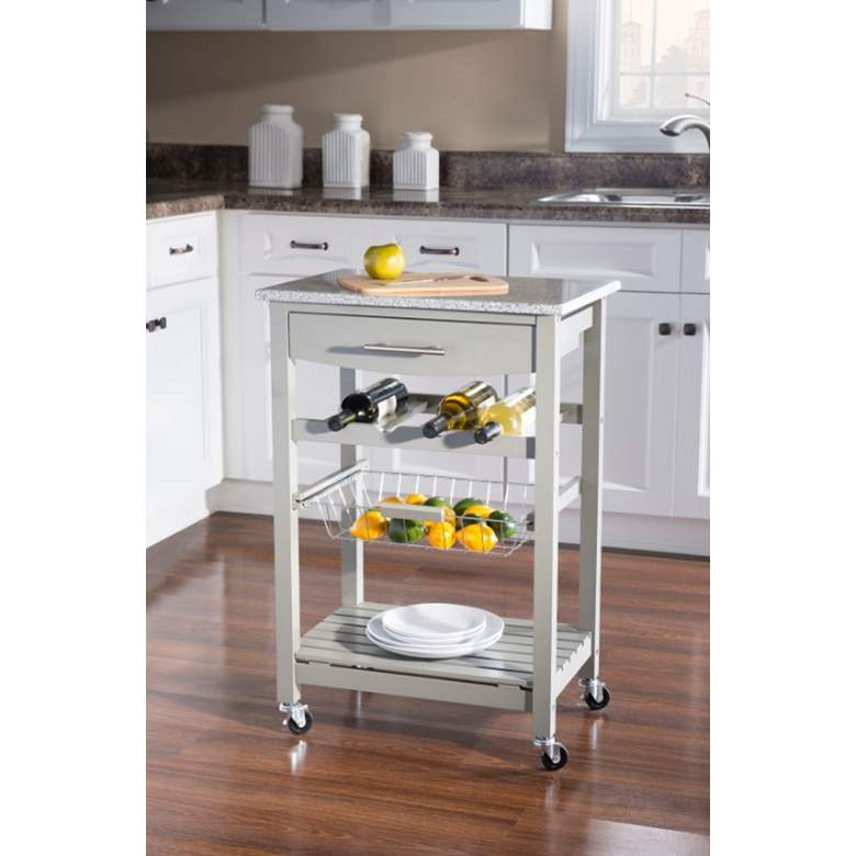 "Zoey 22 3/4"" Wide Gray Wood and Granite Kitchen Cart"