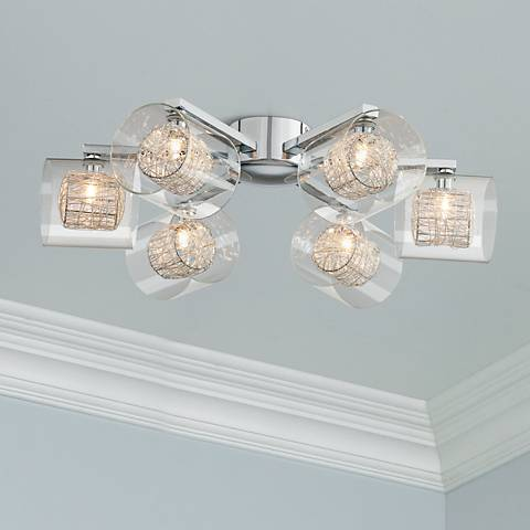 "Possini Euro 24"" Wide Chrome Ceiling Light"