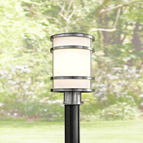"Bay View Collection 12 1/4"" High Steel Post Light"