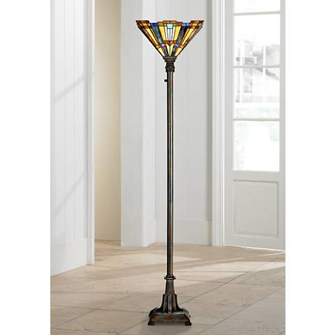 Quoizel Inglenook Tiffany Glass Bronze Floor Torchiere