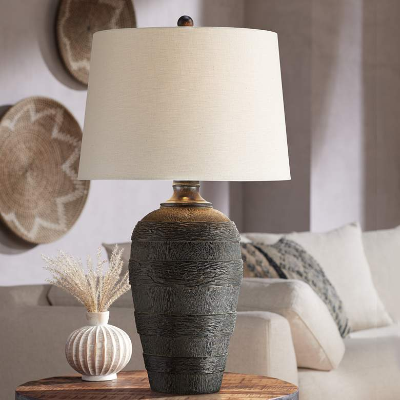 Coloma Black Resin Modern Rustic Table Lamp