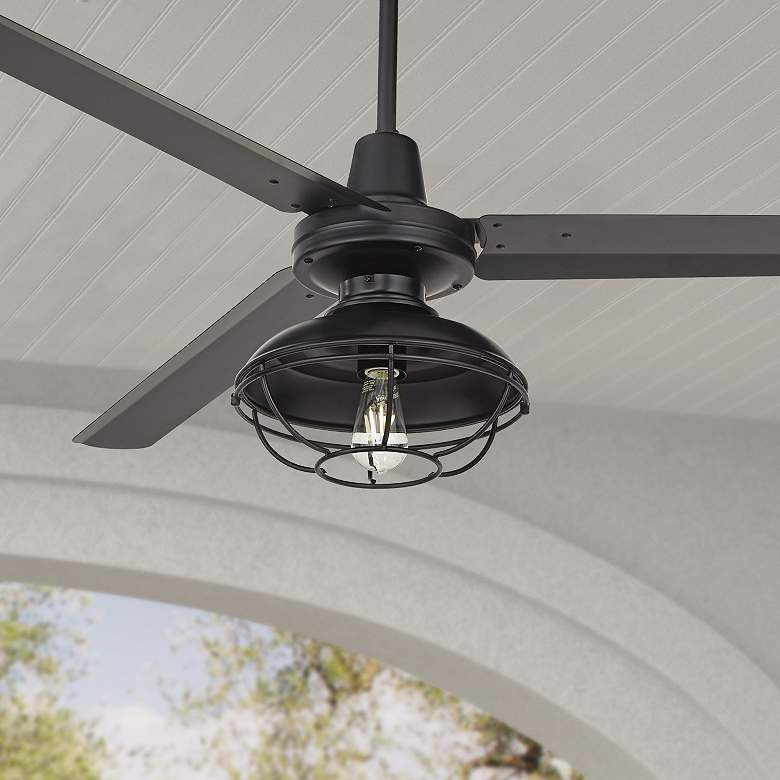 "60"" Turbina Matte Black Damp Ceiling Fan with Franklin Park LED Kit"
