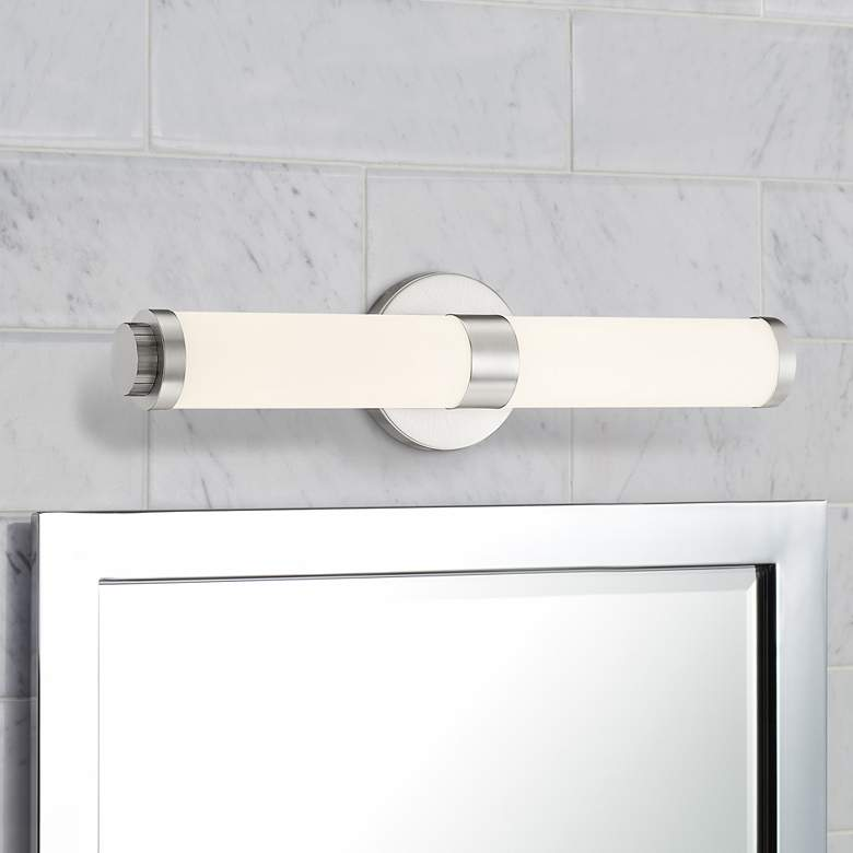 "Aqua 19 1/4"" Wide Brushed Steel Metal Bar LED Bath Light"