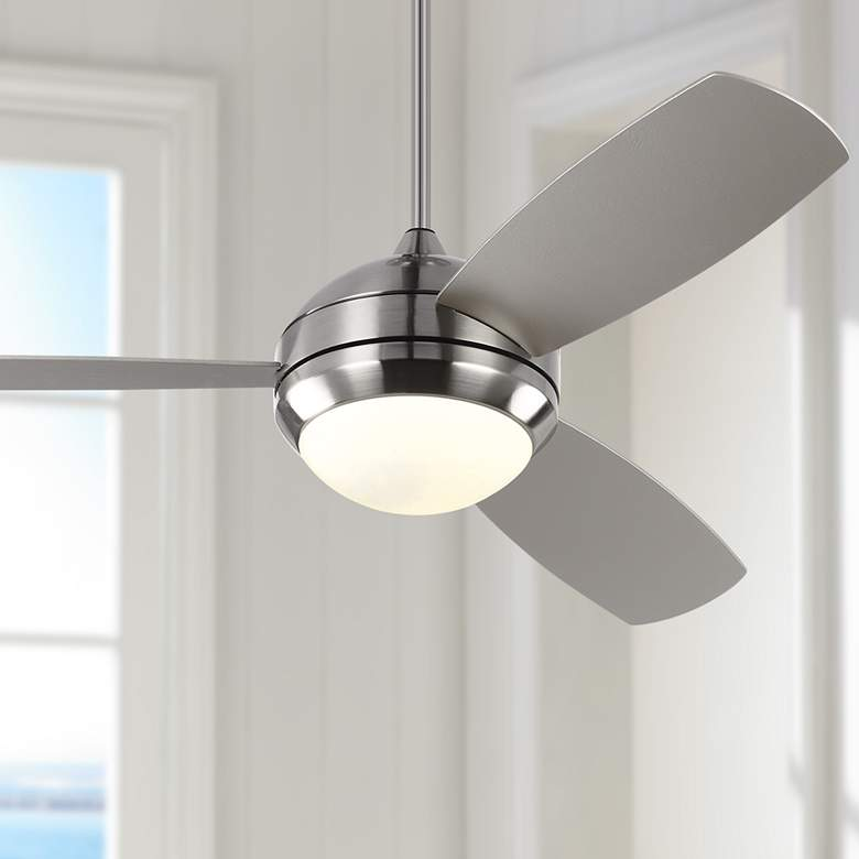 "52"" Monte Carlo Discus Trio Brushed Steel Damp Rated LED Ceiling Fan"