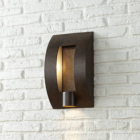 "Framed Slate 16"" High Bronze 3-Light Outdoor Wall Light"