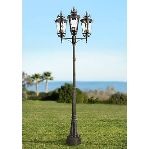 "Casa Marseille™ 100""H Black Outdoor 3-Light Post Light"