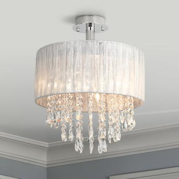 "Possini Euro Jolie 15"" Wide Silver and Crystal Ceiling Light"