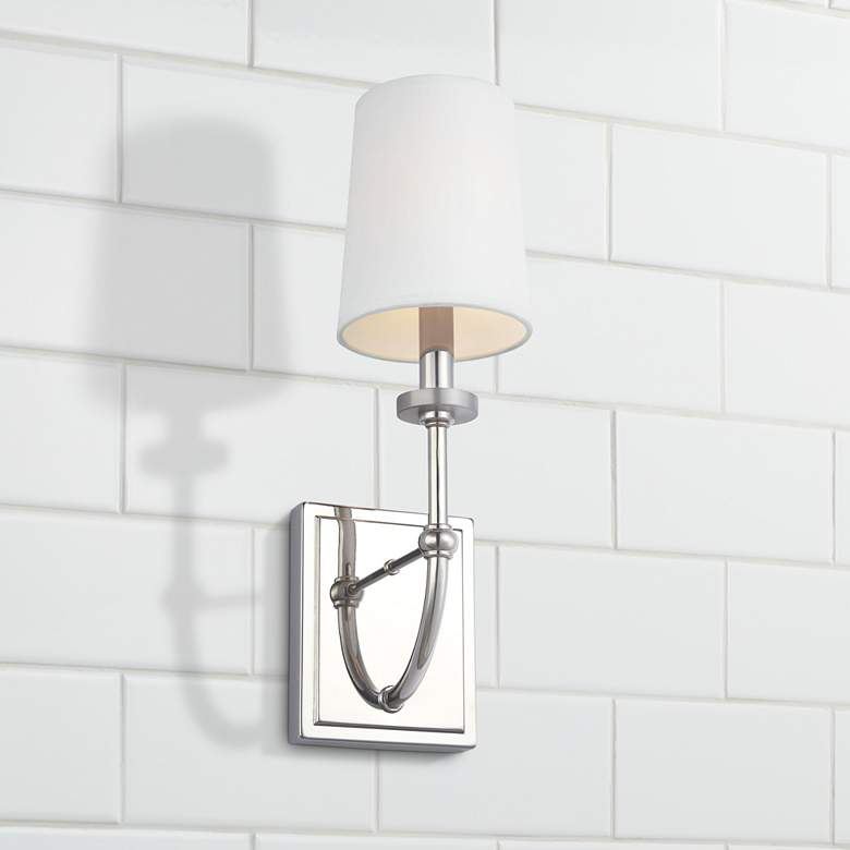 "Feiss Stowe 16"" High Polished Nickel Wall Sconce"