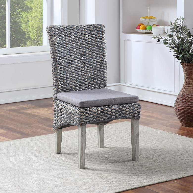 Heron Gray Seagrass Armless Dining Chairs Set of 2
