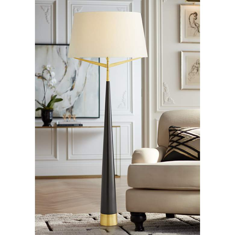 Arteriors Home Elden Black and Antique Brass Cone Floor Lamp
